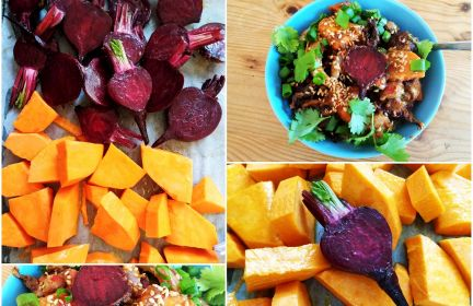 Warzywa sezonowe na quinoi z boskim sosem orientalnym na maśle orzechowym!